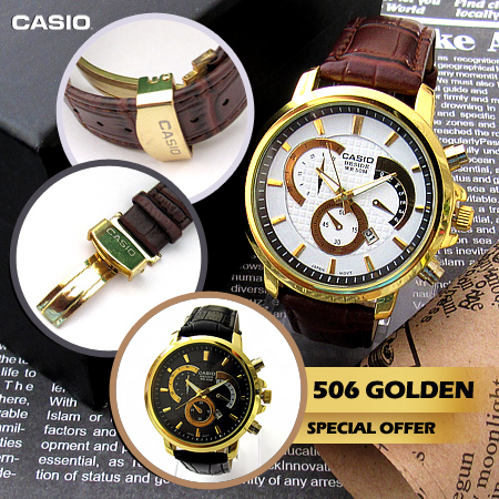 خرید اینترنتی ساعت کاسیو بند چرم مدل Golden 506 خرید آنلاین