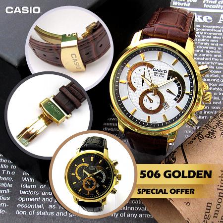 ساعت کاسیو بند چرم مدل Golden 506