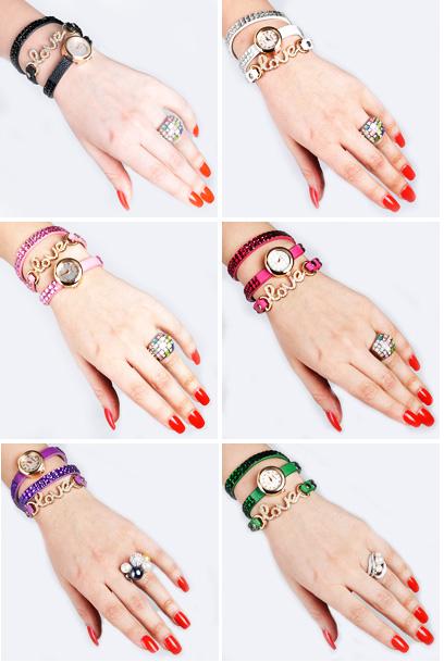 خرید ساعت زنانه نگین دار طرح Love رنگ ثابت 2015