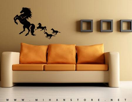 ساعت دیواری باطرح اسب